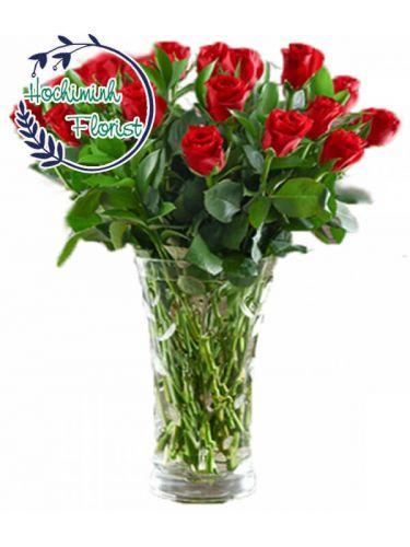 2 Dozen Red Roses In A Vase