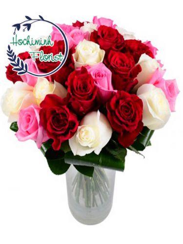 2 Dozen Mixed Roses In A Vase