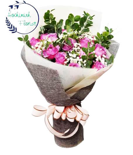 2 Dozen Purple  Roses in Bouquet