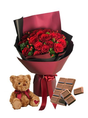 A Dozen Red Roses, Chocolate Bar And Teddy Bear
